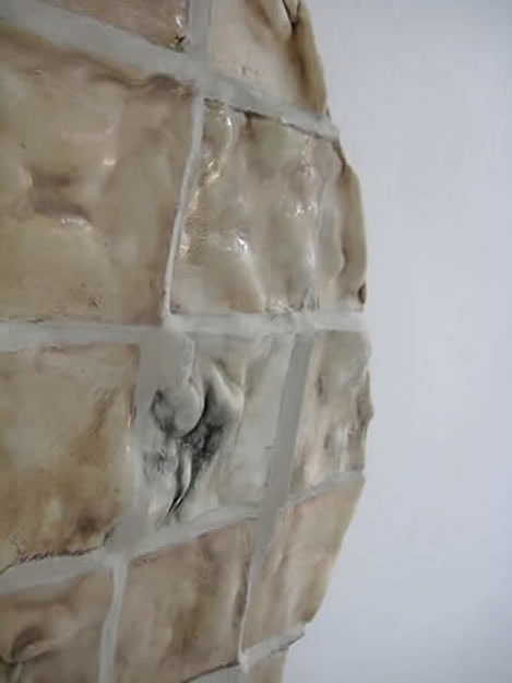 Close up of Kjersti Sletteland's wall based sculpture, Epidermis.